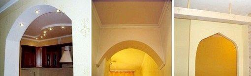 Виготовлення арки з гіпсокартону допоможе вирішити проблему з дверима