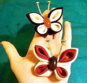 Витончена канзаши метелик - саморобна шпилька для волосся