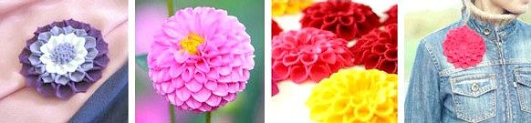 Об'ємний квітка з фетру у вигляді брошки